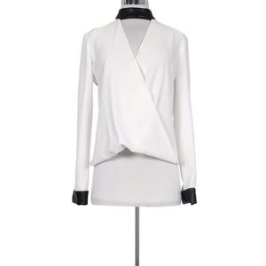 Intermix white faux leather collar wrapped blouse